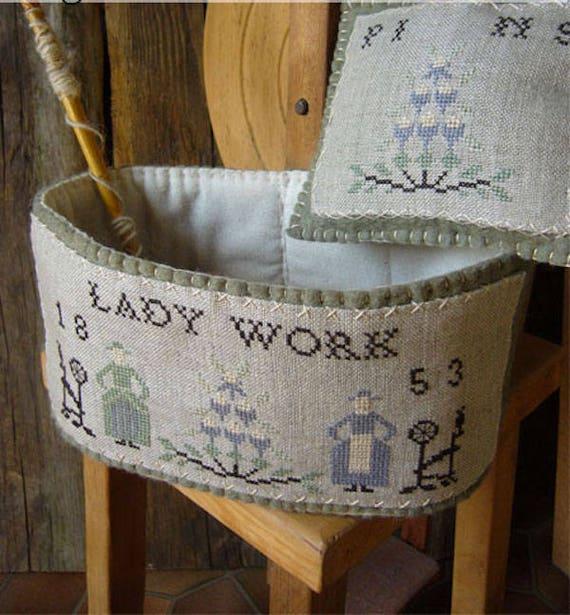 Pattern: A Lady Basket Cross Stitch - Primitive Hare