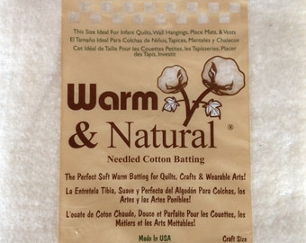 """Notions: Warm and Natural - Needled Cotton Batting - Craft Size 34""""x45"""""""