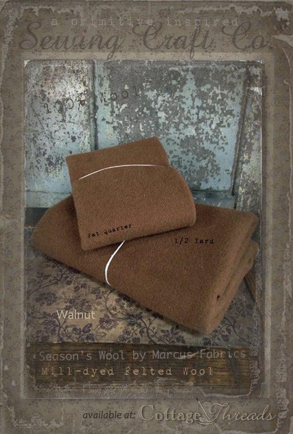 Wool: 1 YARD  Piece 100% Wool - WALNUT - Marcus Fabrics