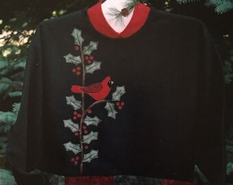 Pattern: Holly & Berries Cardinal Applique Sweatshirt by Cottage Creek Quilts