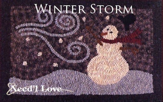 "Pattern: Rug Hooking - ""Winter Storm"" by Renee Nanneman of  Needle Love Designs"
