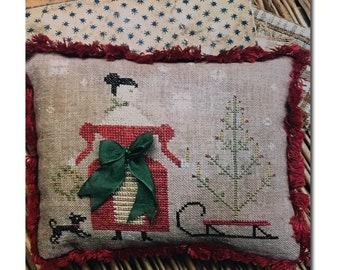 "Pattern: ""Deck the Halls Pinkeep"" - Cross Stitch  by Stacy Nash Primitives"