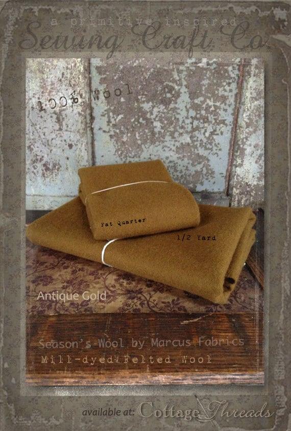 Wool: Half Yard 100% Wool - ANTIQUE GOLD - Marcus Fabrics