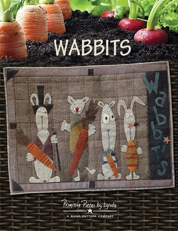 Pattern: WABBITS Wool Applique Pattern by Primitive Pieces by Lynda