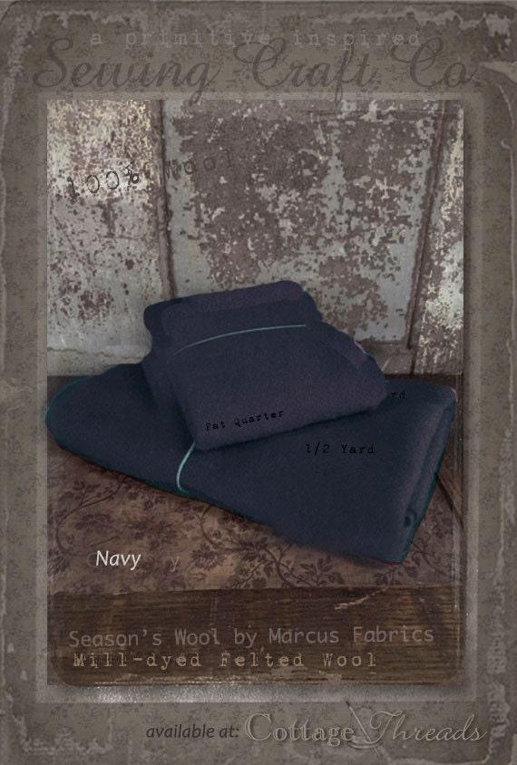 Wool: Fat Quarter 100% Wool - NAVY - Marcus Fabrics