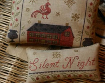 "Pattern: ""Silent Night Pinkeep & Ornament"" - Cross Stitch  by Stacy Nash Primitives"