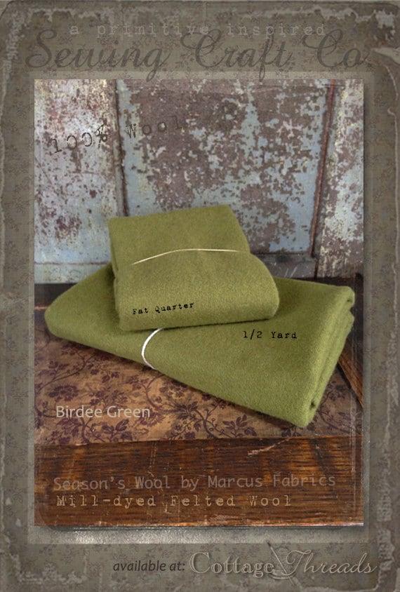 Wool: Fat Quarter or 1/4 yd. 100% Wool - BIRDEE GREEN - Marcus Fabrics