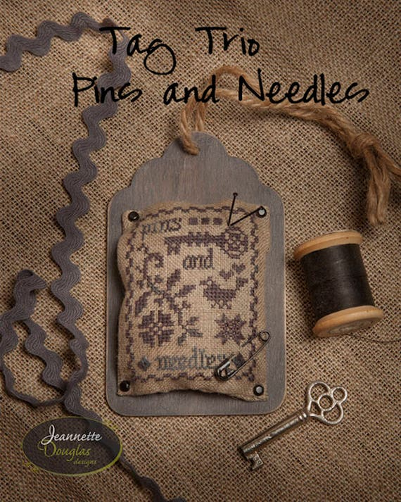 "Kit and Pattern: Tag Trio ""Pins and Needles"" by Jeannette Douglas Designs"