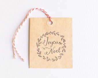 Christmas gift tags, hand drawn printable gift tags, joyeux noel, instant digital download