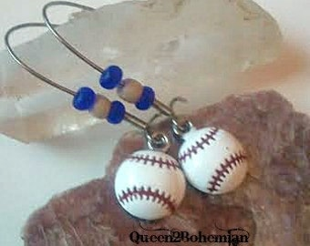 Blue Baseball Earrings,Baseball Season,Summer Outdoors,Sports Lover Gift,Sports Mom,National Pastime,Sports Teams Earrings,Summer Party