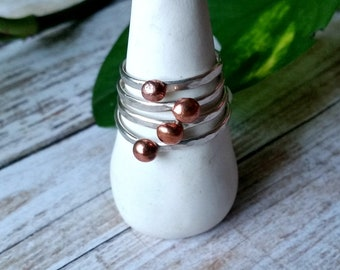 Hammered Silver and Copper Ring - Choose Your Size