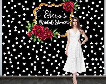 Bridal Shower Photo Backdrop, Custom Wedding Party Backdrop, Personalized Wedding Backdrop, Black and White Polka Dots Photo Booth Backdrop