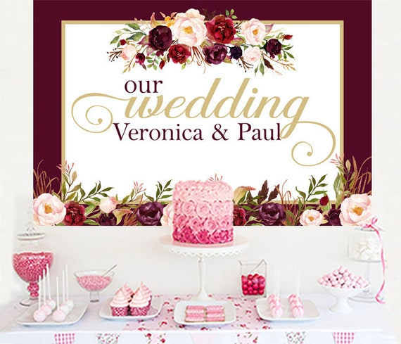 Marsala Wedding Personalized Backdrop Wedding Cake Table Etsy