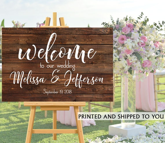 Welcome To Our Wedding Sign Rustic Wedding Sign Reception Etsy