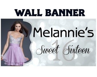 Sweet 16 Silver Sparkle Bokeh Personalized Banner, Birthday Large Banner for Party Customizable, 16th Birthday Banner, 21st Birthday Banner