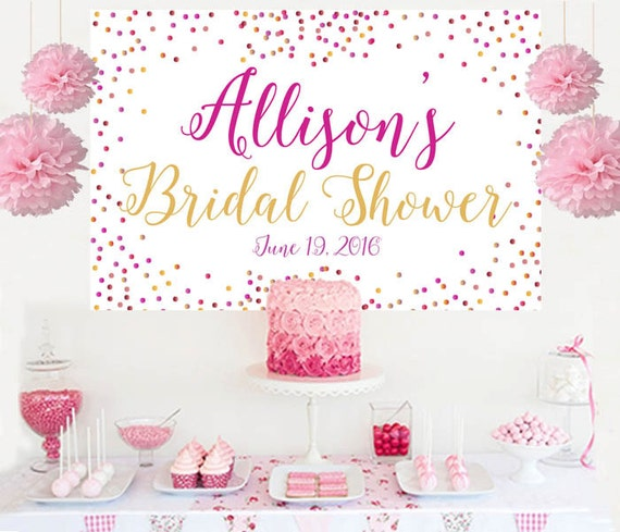 Bridal Shower Surprise Personalized Banner Wedding Shower Cake