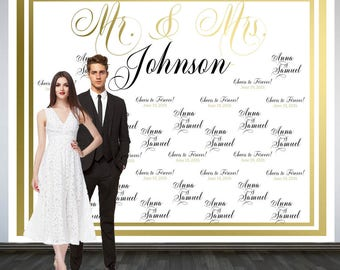Cheers to Forever Photo Backdrop, Printed Custom Wedding Party Backdrop, Wedding Backdrop, Wedding Photo Booth Backdrop, Mr & Mrs Backdrop