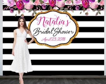 Bridal Shower Photo Backdrop, Custom Wedding Party Backdrop, Personalized Wedding Backdrop, Black and White Stripes Photo Booth Backdrop