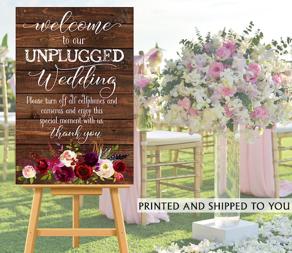 Unplugged Ceremony Sign No Cell Phone Sign Wedding Reception Etsy