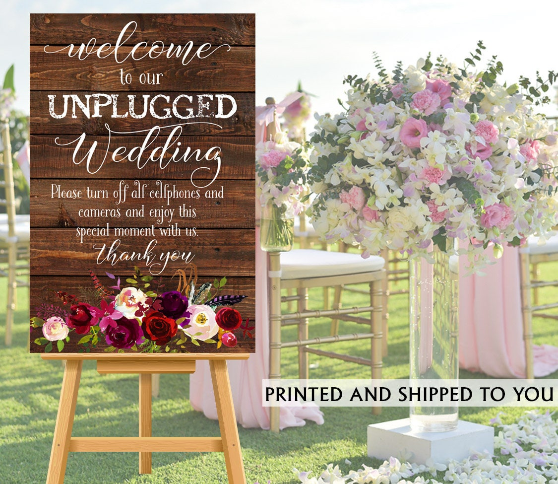 No Ceremony Just Reception: Unplugged Ceremony Sign No Cell Phone Sign Wedding
