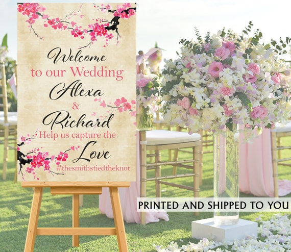 Welcome To Our Wedding Sign Cherry Blossoms Canvas Reception Etsy