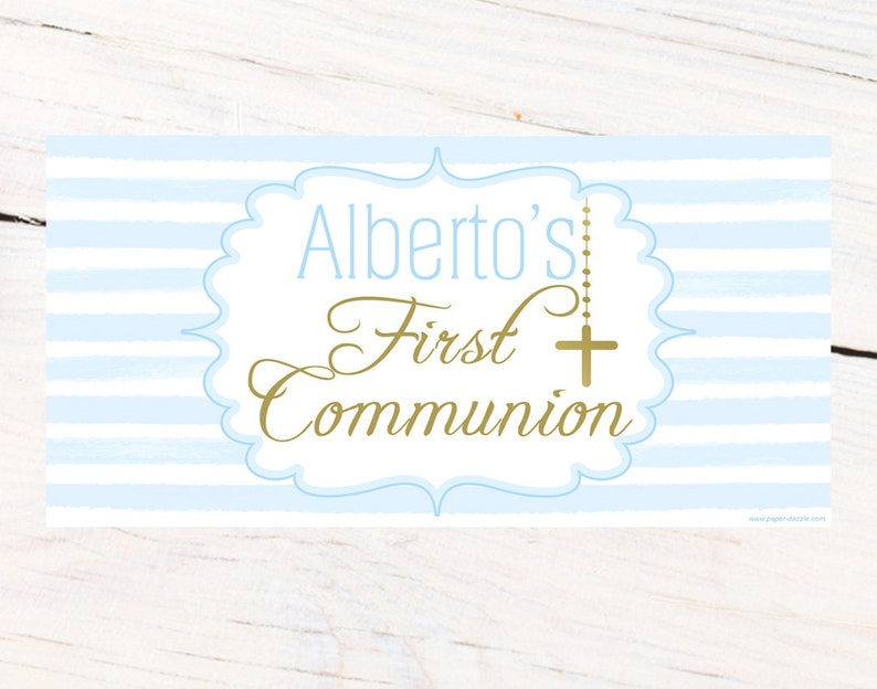 Baptism Banner Printed Banner Religious Large Banner Mi Bautizo Banner First Communion Personalized Banner Christening Banner