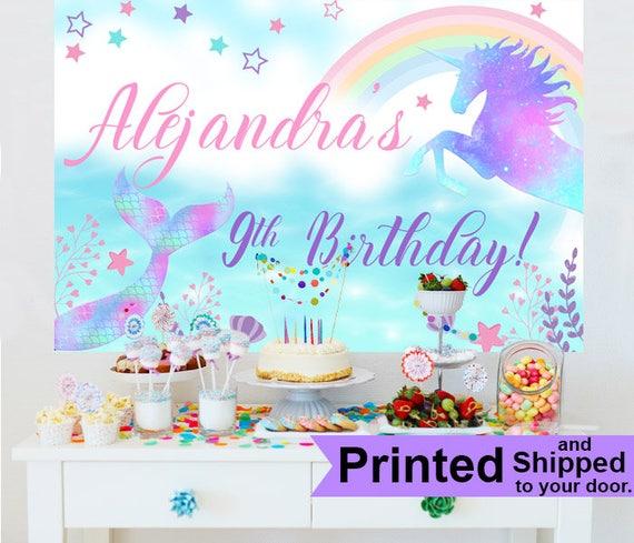 Mermaids Unicorns Personalized Banner Birthday Cake Table