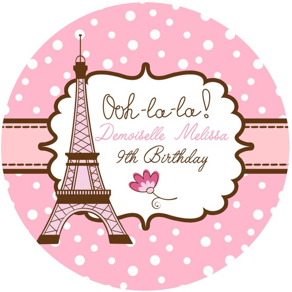 Personalized Stickers Paris Party Eiffel Tower