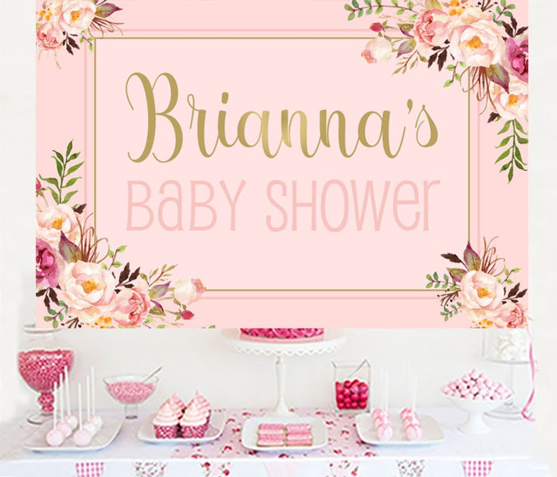 Printed Wedding Backdrop Floral Party Backdrop Baby Shower Personalized Backdrop Bridal Shower Backdrop It/'s a Girl Cake Table Backdrop