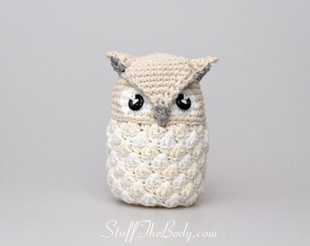 Seamless Snow Owl Amigurumi Pattern, christmas ornament, winter decoration, xmas present, white home decoration, winter wonderland, waldorf