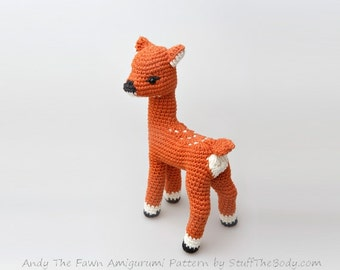 Andy The Fawn Amigurumi Pattern, Seamless Deer Crochet Pattern, advanced techniques, toy pattern, home decor, diy gifts, baby shower