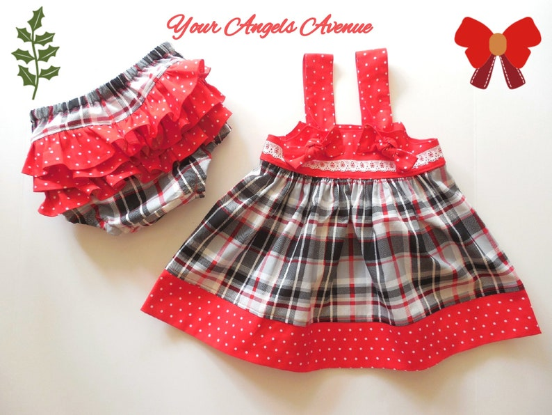 Baby Girl Christmas Dress Diaper Cover Outfit Christmas Layering Dress Girl Christmas Dress Girl Christmas Outfit Dress and Diaper Cover
