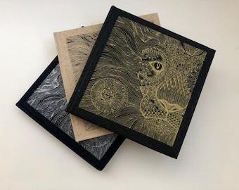 Sketch book. Note Book. Handmade Gold Lion screen printed book. Blank Book.