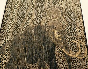 Gold Mammoth Screen Print by Quantum
