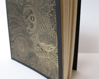 Sketch book. Note Book. Handmade Gold Lion screen printed book. Blank Book.