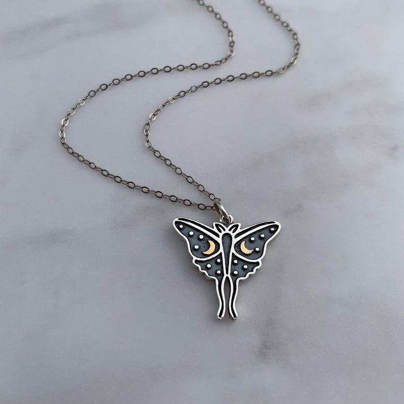 Mixed Metal Luna Moth Necklace with Bronze Moons