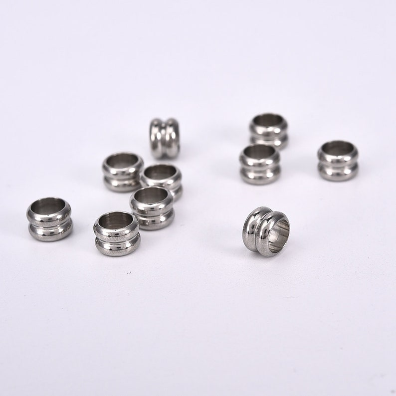 Wholesale Column Stainless Steel Beads Large Hole Grooved Fit Bracelet Necklace
