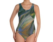 One-Piece Swimsuit - Marble Blue Green Gold