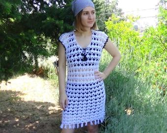 CROCHET PATTERN — Mykonos tunic dress, Sizes: Adult XS - 4XL, Summer lacy crochet dress pdf pattern, Swimsuit Coverup Tunic, Teenager gift