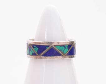 Tribal sterling silver band / lapis band / sterling silver band / ornate silver band / sterling silver ring / Aztec silver band / tribal