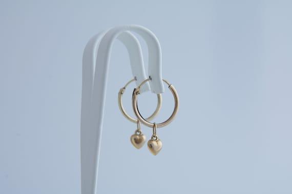 Hoop heart dangle earrings, Vintage gold hoop and