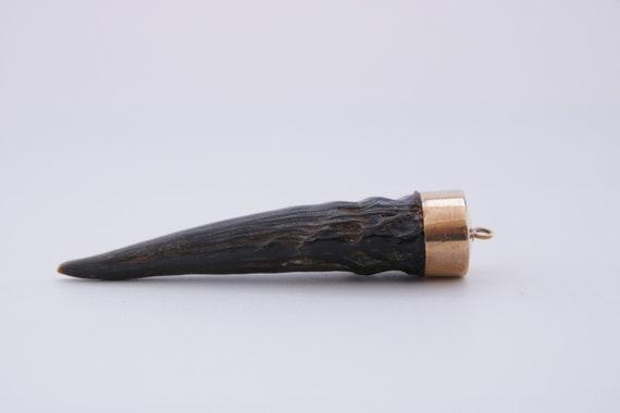 Bavarian Horn Pendant, Antique Bavarian Goat Horn