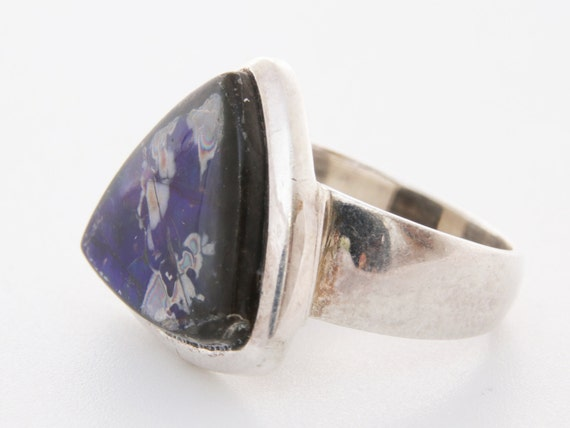 Black opal statement ring, Vintage Triangular blac
