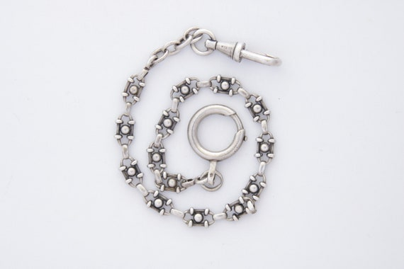 Pocket Watch Chain, Antique Victorian French Silve