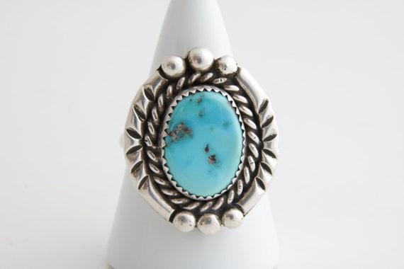 Navajo Turquoise Ring, Vintage Native American Ste