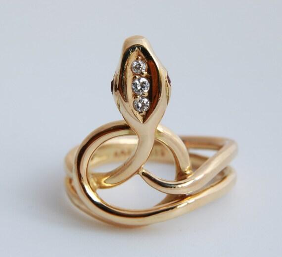 Diamond Snake Ring, Art Deco Snake Ring in 14k Yel