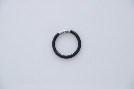 Black Coral Ring, Antique Sterling Silver and Natu