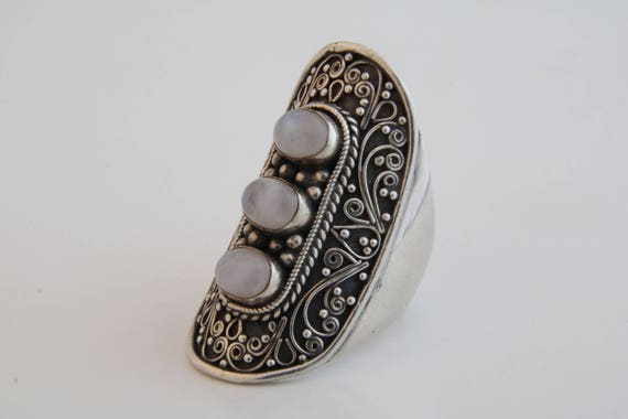 Sterling silver and moonstone finger shield ring /
