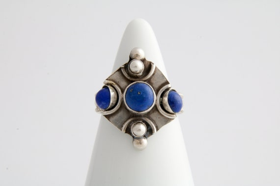 Lapis lazuli statement ring, Tribal lapis lazuli s