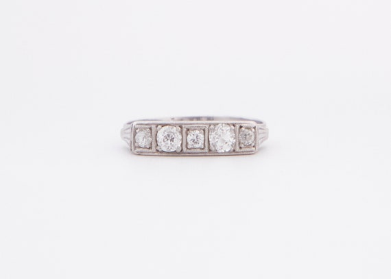 Art Deco Engagement Ring, Art Deco White Gold and